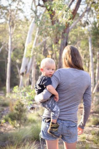 mum and toddler boy in the bush