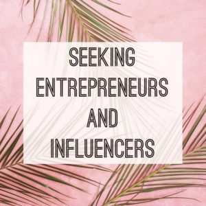 Seeking entrepreneurs and influencers Text palm leaves on pink background